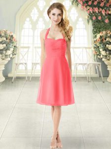 Watermelon Red Sleeveless Ruching Knee Length Evening Dress