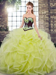 New Arrival Tulle Sweetheart Sleeveless Sweep Train Lace Up Embroidery and Ruffles Sweet 16 Dresses in Yellow Green