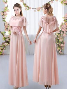 New Arrival Pink Empire Scoop Short Sleeves Chiffon Floor Length Zipper Appliques Bridesmaid Dresses