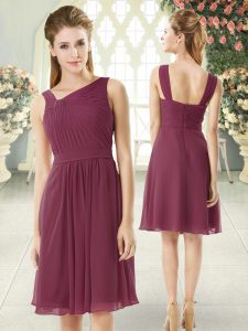 Empire Burgundy Asymmetric Chiffon Sleeveless Knee Length Zipper