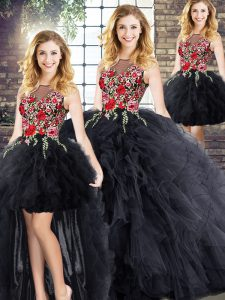 Glittering Black Ball Gowns Embroidery and Ruffles Ball Gown Prom Dress Zipper Sleeveless Floor Length