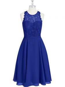 Romantic Royal Blue Sleeveless Lace Mini Length Prom Dresses