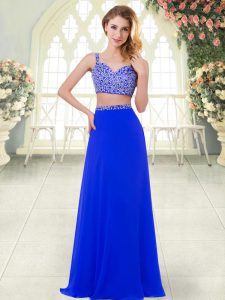 Clearance Royal Blue Zipper Straps Beading Evening Dress Chiffon Sleeveless