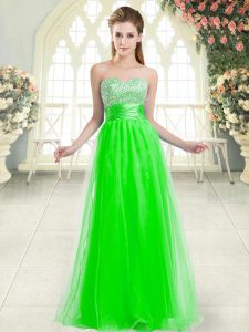 Green A-line Sweetheart Sleeveless Tulle Floor Length Lace Up Beading Homecoming Dress