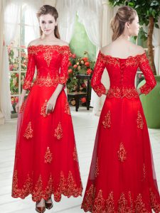 Graceful Tulle 3 4 Length Sleeve Floor Length Evening Gowns and Lace and Appliques