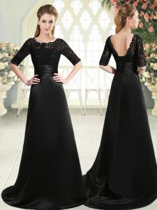 Half Sleeves Beading and Appliques Lace Up Homecoming Dress with Black Sweep Train