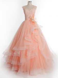 Fantastic A-line Sweet 16 Dresses Peach Straps Tulle Sleeveless Floor Length Lace Up