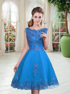 Scoop Sleeveless Tulle Homecoming Dress Beading and Appliques Lace Up