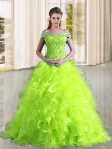 Custom Fit Lace Up Sweet 16 Dress Yellow Green for Military Ball and Sweet 16 and Quinceanera with Beading and Lace and Ruffles Sweep Train