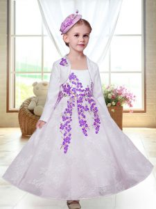 Romantic Lace Sleeveless Ankle Length Flower Girl Dresses and Embroidery
