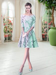 Edgy Scoop Half Sleeves Prom Evening Gown Knee Length Ruching Apple Green