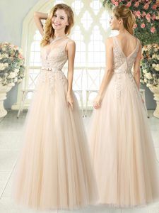 Champagne Sleeveless Floor Length Appliques Zipper Prom Party Dress