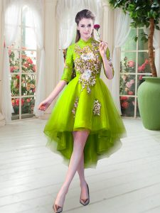 Low Price Yellow Green High-neck Zipper Appliques Prom Dresses Half Sleeves