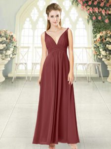 Unique Wine Red Dress for Prom Prom and Party with Ruching V-neck Sleeveless Backless