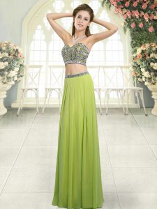 Colorful Olive Green Two Pieces Chiffon Sweetheart Sleeveless Beading Floor Length Backless Evening Dress