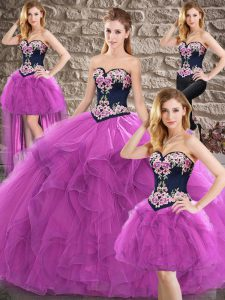 Custom Made Floor Length Purple Quinceanera Gown Tulle Sleeveless Beading and Embroidery