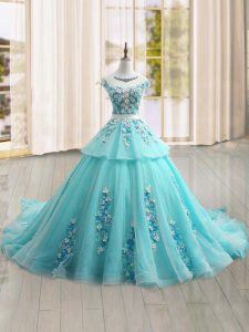 Exquisite Cap Sleeves Brush Train Lace Up Appliques Sweet 16 Dresses
