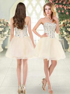Beautiful Champagne Sleeveless Mini Length Beading Lace Up Prom Dresses