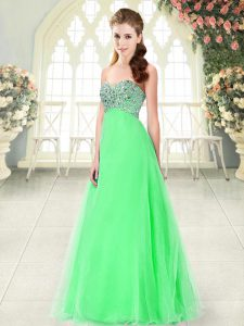Green A-line Beading Lace Up Tulle Sleeveless Floor Length