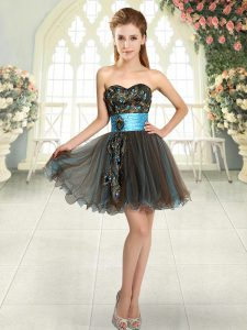 A-line Prom Dress Brown Sweetheart Tulle Sleeveless Mini Length Lace Up