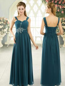 Floor Length Lace Up Homecoming Dress Teal for Prom and Party with Beading and Ruching