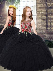 New Style Black Scoop Neckline Embroidery and Ruffles Child Pageant Dress Sleeveless Zipper