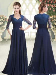 Sweep Train Empire Evening Dress Blue Sweetheart Satin Long Sleeves Zipper