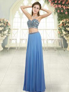 Suitable Blue Backless Sweetheart Beading Evening Dress Chiffon Sleeveless