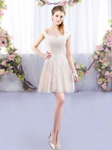 Dazzling Mini Length Champagne Quinceanera Court of Honor Dress Cap Sleeves Lace