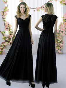 Cap Sleeves Floor Length Lace Zipper Quinceanera Court Dresses with Black