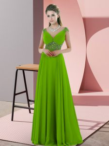 High End Green Empire Chiffon V-neck Sleeveless Beading Floor Length Backless Homecoming Dress