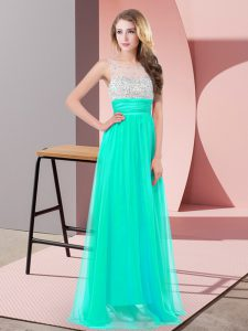 Chiffon Scoop Sleeveless Side Zipper Sequins Homecoming Dress in Turquoise