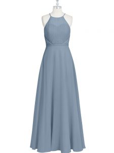 Enchanting Sleeveless Floor Length Ruching and Pleated Zipper Dress for Prom with Grey