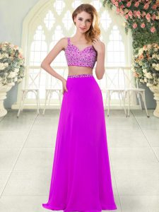 Suitable Sleeveless Chiffon Floor Length Zipper Homecoming Dress in Purple with Beading