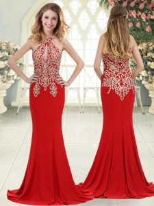 Charming Elastic Woven Satin Sleeveless Formal Evening Gowns Sweep Train and Beading and Lace