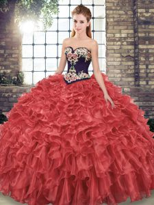 Stunning Red Ball Gowns Sweetheart Sleeveless Organza Sweep Train Lace Up Embroidery and Ruffles Sweet 16 Dresses