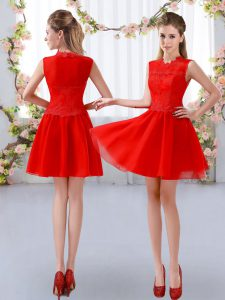 Trendy Red Bridesmaid Dresses Prom and Party and Wedding Party with Lace High-neck Sleeveless Zipper