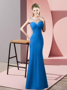 Floor Length Zipper Prom Party Dress Blue for Prom and Party and Military Ball with Beading
