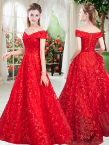Fashion Floor Length Red Prom Evening Gown Lace Sleeveless Beading