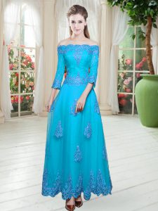 Perfect Off The Shoulder 3 4 Length Sleeve Prom Gown Floor Length Lace Blue Tulle