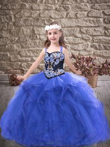 Straps Sleeveless Lace Up Custom Made Pageant Dress Royal Blue Tulle