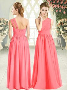 Pretty One Shoulder Sleeveless Zipper Prom Gown Watermelon Red Chiffon