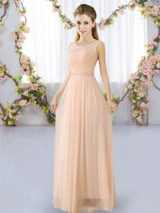 Hot Sale Peach Scoop Neckline Belt Quinceanera Dama Dress Sleeveless Lace Up