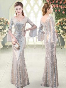 Ideal Mermaid Formal Dresses Silver V-neck Sequined Long Sleeves Floor Length