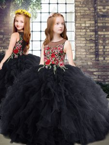 Fancy Scoop Sleeveless Tulle Little Girl Pageant Gowns Embroidery and Ruffles Zipper