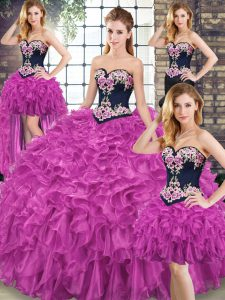 Decent Fuchsia Sleeveless Sweep Train Embroidery and Ruffles Quince Ball Gowns