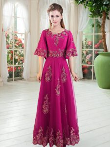 Beautiful Half Sleeves Tulle Floor Length Lace Up Evening Dress in Fuchsia with Lace