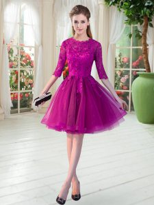 Spectacular Scalloped Half Sleeves Tulle Prom Evening Gown Lace Zipper