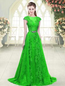 Green Cap Sleeves Beading and Lace and Pick Ups Zipper Prom Evening Gown