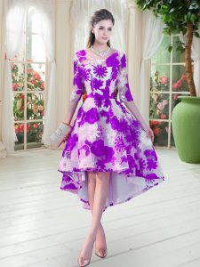 Half Sleeves Lace High Low Lace Up Prom Gown in White And Purple with Belt